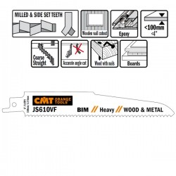 Lame scie sabre bois et métal