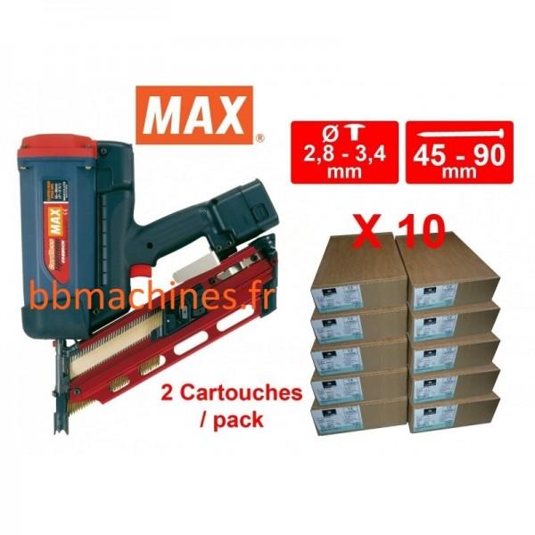 Pack cloueur gaz + 10 packs pointes de 50 à 75 annelées et 2 cartouches par packs